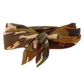 Pleated Camo Print Bandana Headwrap,