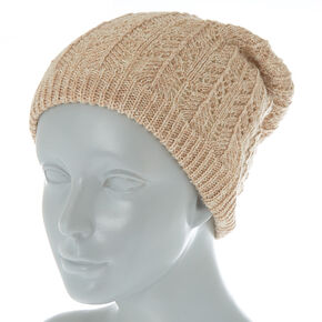 Double Layer Knit Beanie - Tan,