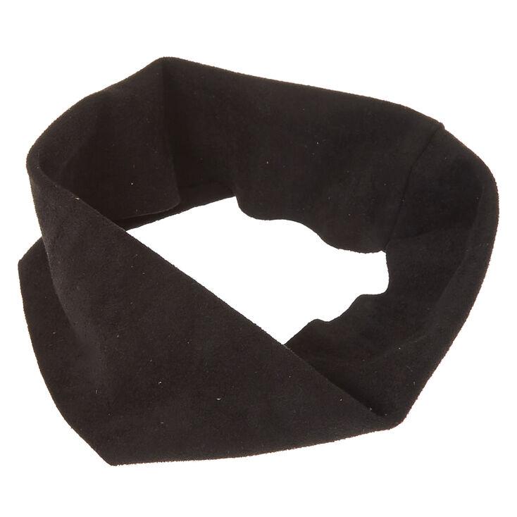 Black Wide Suede Headwrap,