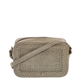 Braided Grey Crossbody Camera Bag,