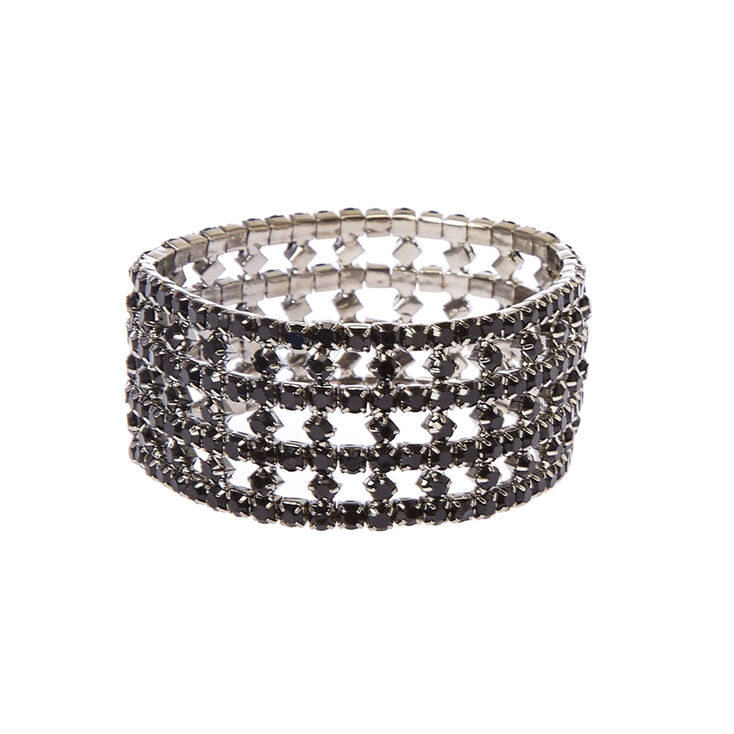 Black Crystal Drop Earrings & Bracelet Set,
