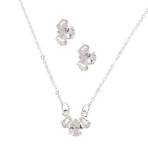 Silver Cubic Zirconia Teardrop Jewelry Gift Set - 2 Pack,