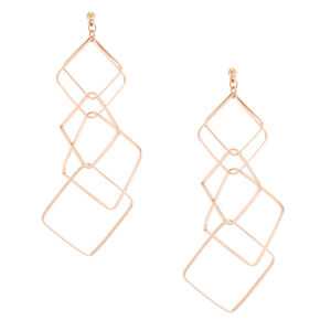 "Rose Gold 4"" Square Interlock Drop Earrings,"