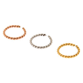 Mixed Metal 18G Twisted Cartilage Hoop Earrings - 3 Pack,