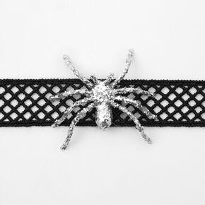 Glitter Spider Choker Necklace - Black,