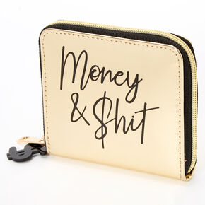 Money & Shit Mini Zip Wallet - Gold,