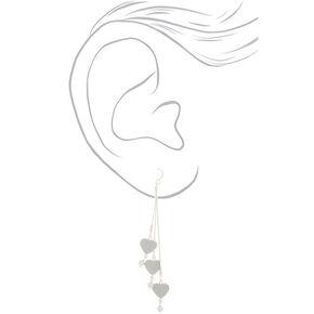 """Silver 4"""" Glitter Heart Drop Earrings,"""