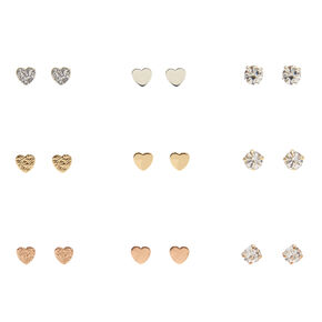 Mixed Metal Mini Heart & Clear Faux Crystal Stud Earrings,