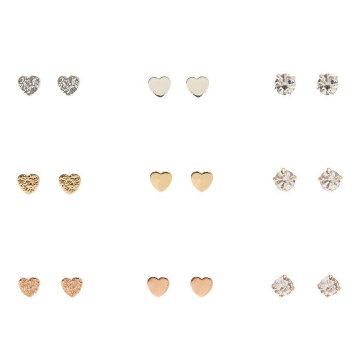 Mixed Metal Mini Heart & Clear Faux Crystal Stud Earrings,