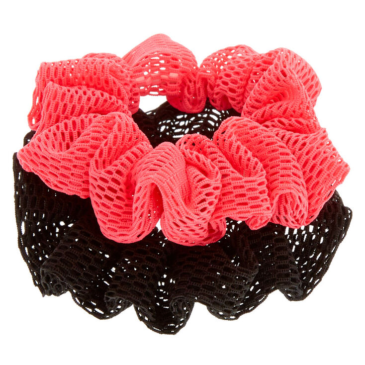 Small Pink & Black Sport Hair Scrunchies - 2 Pack,
