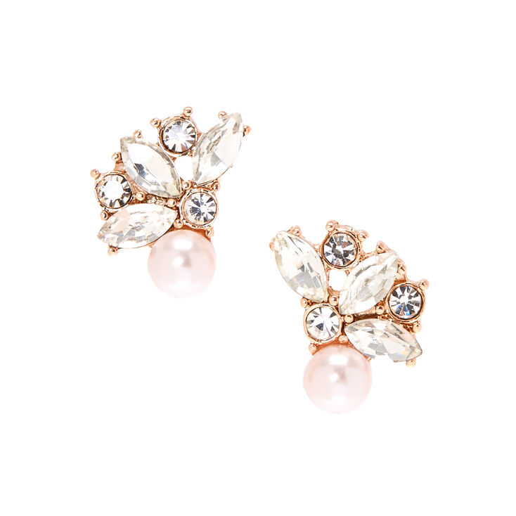 Glass Pearl Crystal Cluster Earrings,