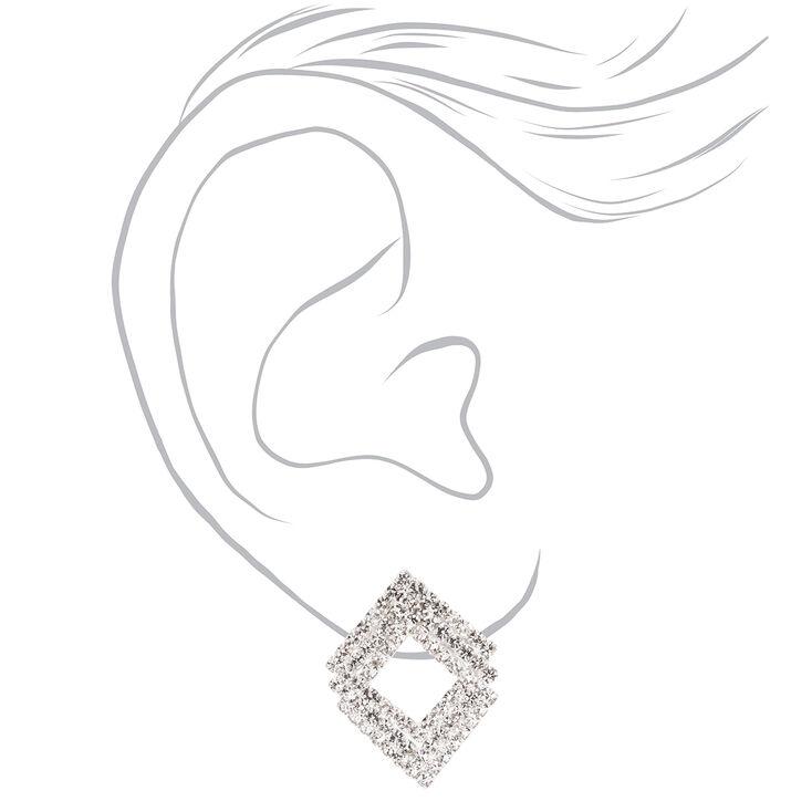 "Silver 2"" Triple Square Rhinestone Drop Earrings,"