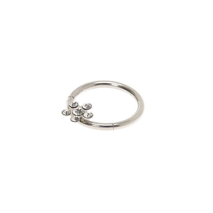 Silver 16G Crystal Flower Cartilage Clicker Hoop Earring,