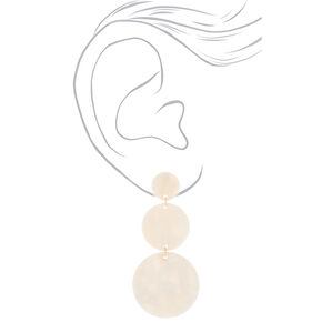 """Gold 3"""" Round Resin Drop Earrings - White,"""