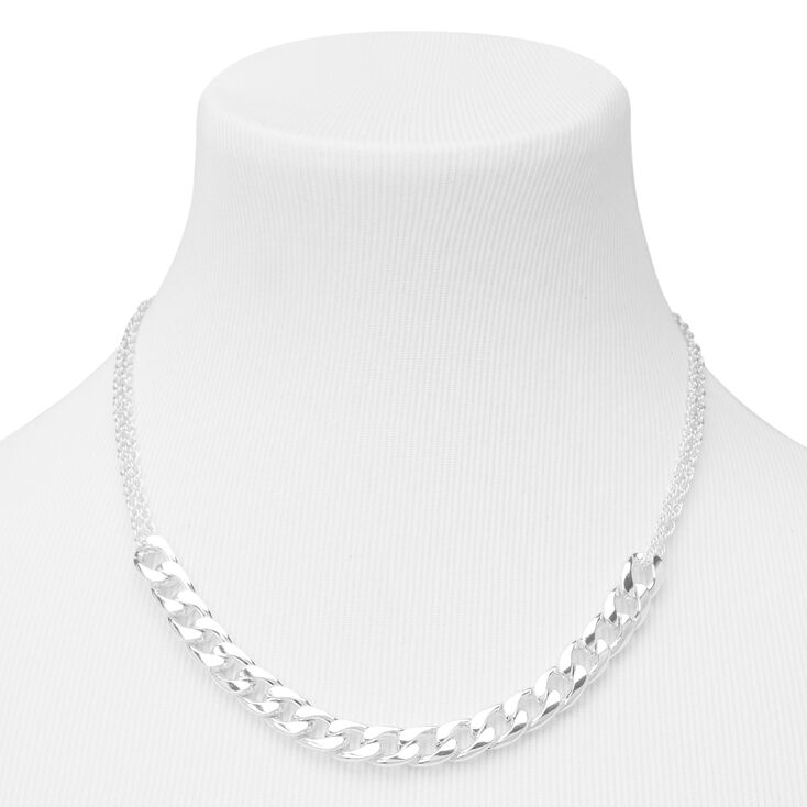 LadieMassive Statement Silver Bling Faux CZ Crystal Chunky Curb Chain Necklace