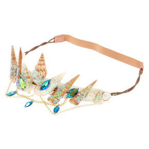 Iridescent Aqua Mermaid Crown Headwrap,