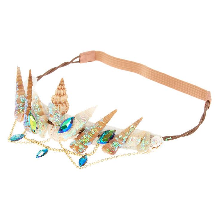 Iridescent Aqua Mermaid Crown Headwrap,