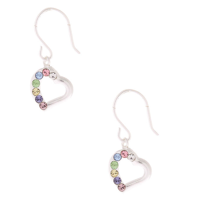 Sterling Silver Pastel Stone Heart Drop Earrings,