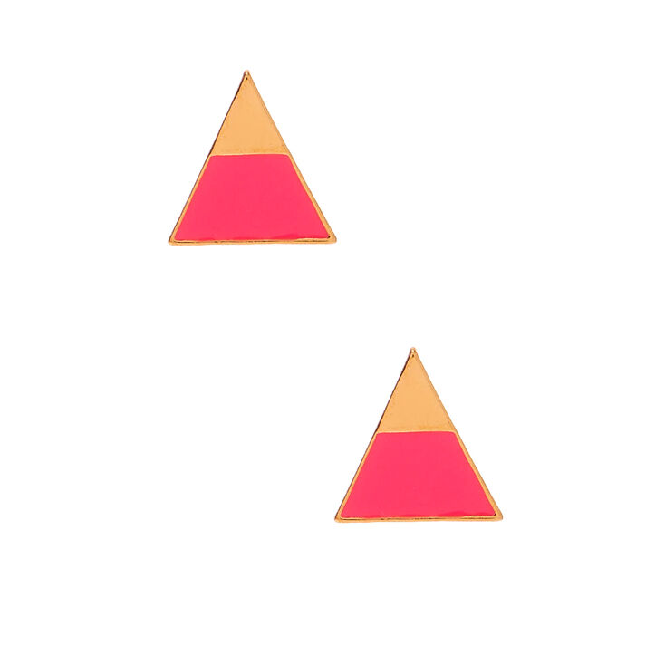 Gold Triangle Neon Stud Earrings - Pink,