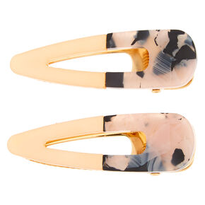 Tortoiseshell Snap Hair Barrettes - Peach, 2 Pack,