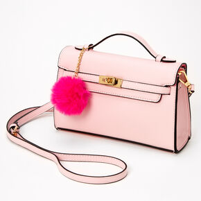 Pastel Pom Pom Crossbody Satchel - Blush Pink,