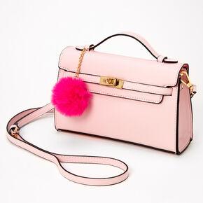 Pastel Pom Pom Crossbody Satchel - Blush Pink,