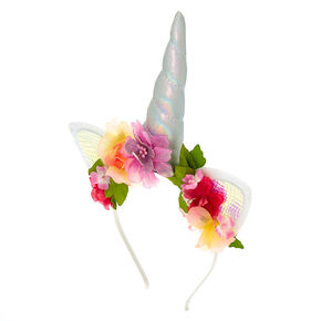 Holographic Unicorn Flower Cat Ear Headband,