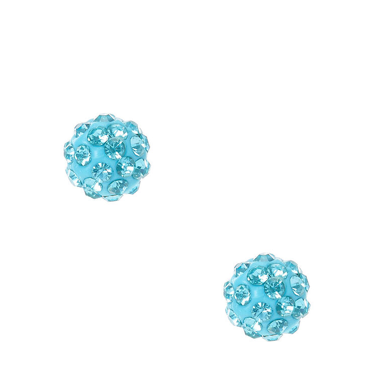 Blue Fireball Stud Earrings,