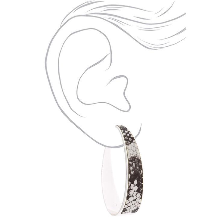 Silver 60MM Snakeskin Hoop Earrings,