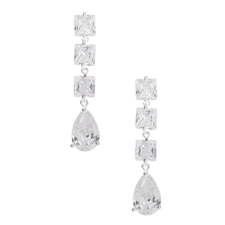 "Silver Cubic Zirconia 1.5"" Double Diamond Drop Earrings,"