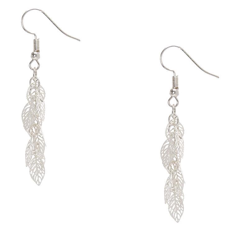 Silver Tone Filigree Leaves Drop Earrings,