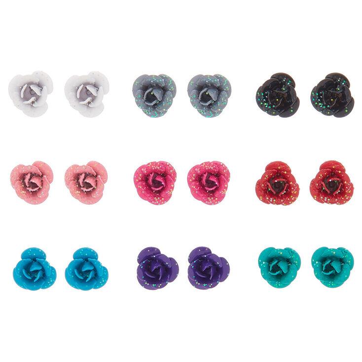 Glitter Rose Stud Earrings - 9 Pack,