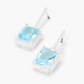 "Silver 2"" Cubic Zirconia Square Halo Drop Earrings - Blue,"
