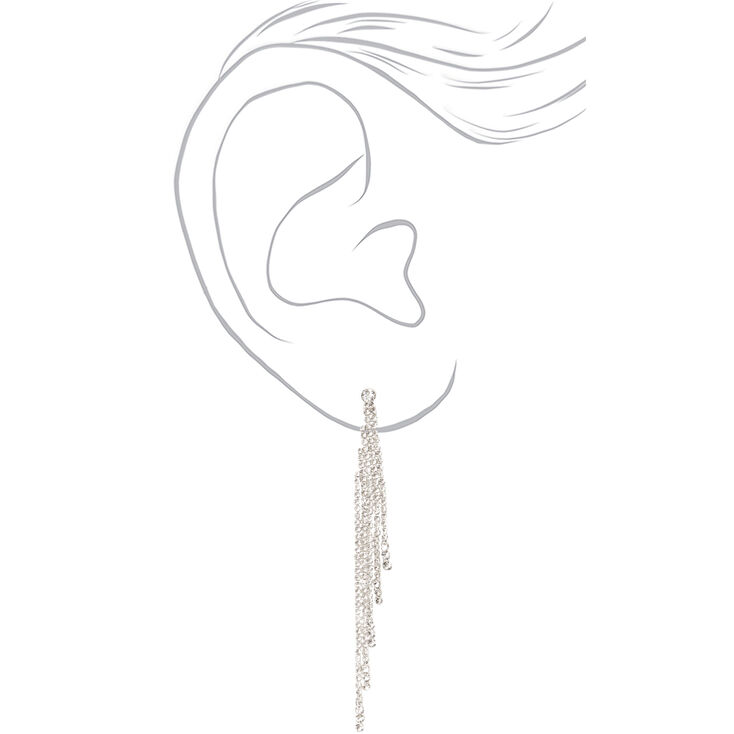 """Silver Rhinestone 3.5"""" Tiered Linear Drop Earrings,"""