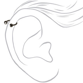 Hematite 16G Crystal Twist Horseshoe Cartilage Hoop Earring,
