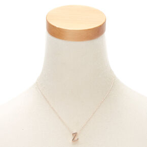 Rose Gold Cursive Initial Pendant Necklace - Z,