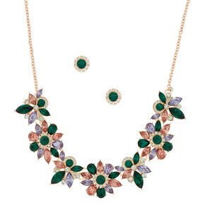 Jewel Tone Floral Jewelry Set - Emerald, 2 Pack,