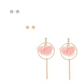 Gold Flower Mixed Earrings - Pink, 3 Pack,