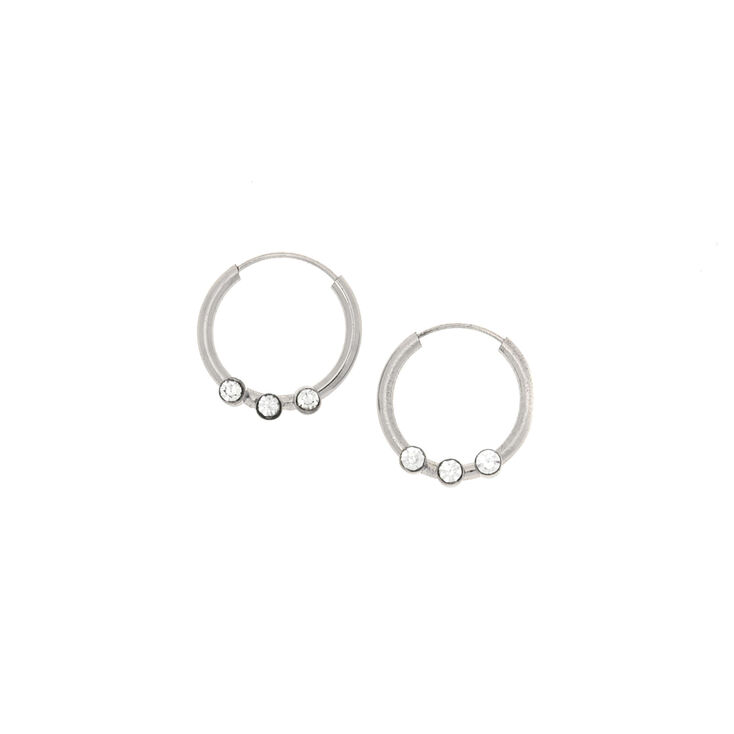 12MM Sterling Silver Crystal Hoop Earrings,