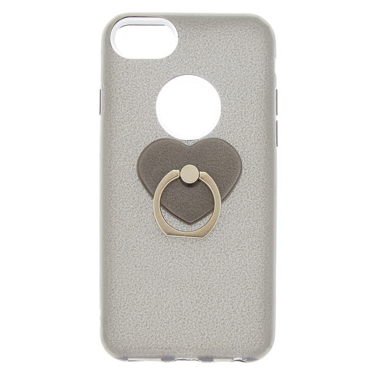 Glitter Heart Ring Holder Phone Case - Fits iPhone 6/7/8/SE,