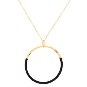 Gold Wrapped Ring Long Pendant Necklace,