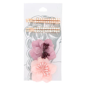 Rose Gold Flower Bobby Pins - 6 Pack,