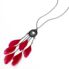 Hematite Medallion Feather Long Pendant Necklace - Red,