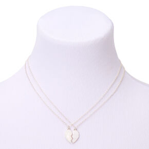 Silver Love Heart Pendant Necklaces - White, 2 Pack,