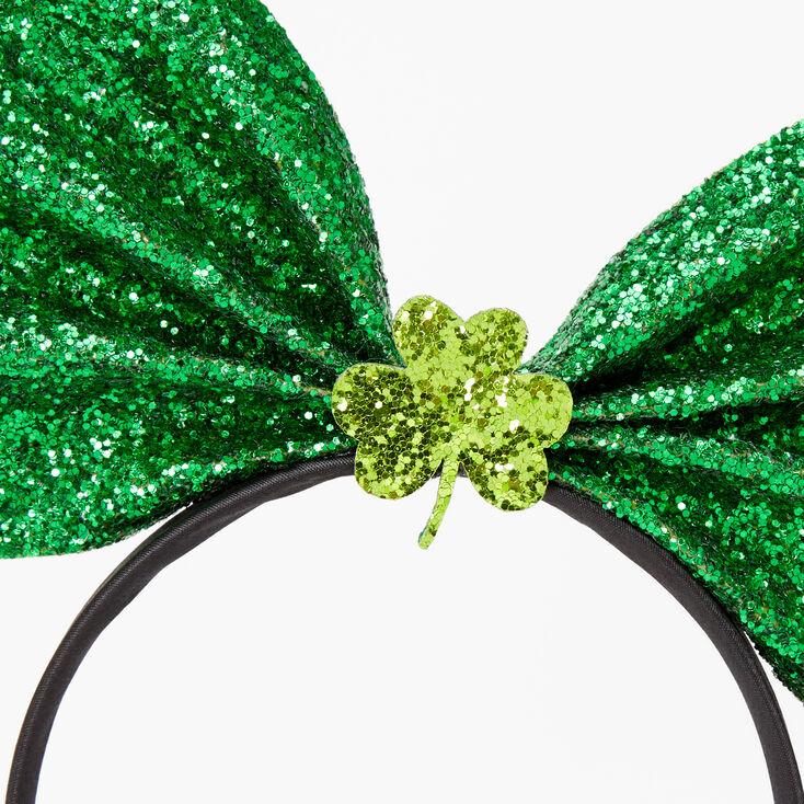 Glitter Shamrock Bow Headband - Green,