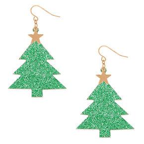 """2"""" Glitter Christmas Tree Drop Earrings - Green,"""