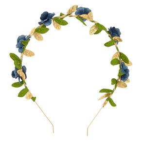 Gold Metallic Flower Headband - Navy,
