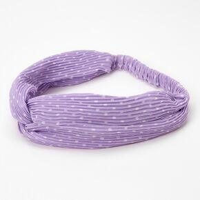 Polka Dot Pleated Twisted Headwrap - Lilac,