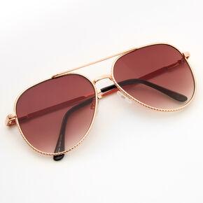 Gold Studded Aviator Sunglasses - Amber,