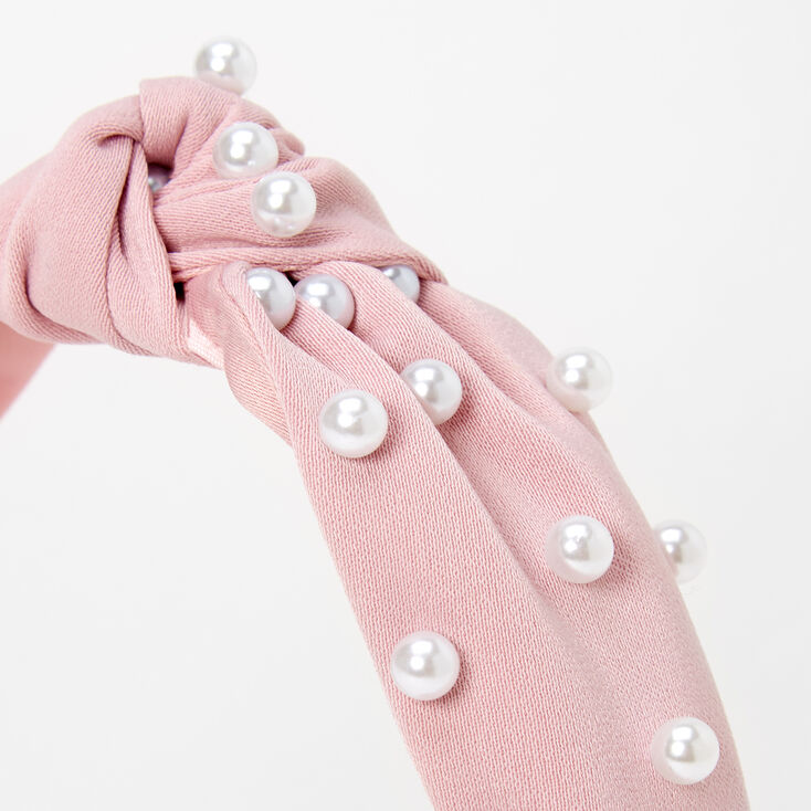 Pearl Knotted Headband - Blush Pink,